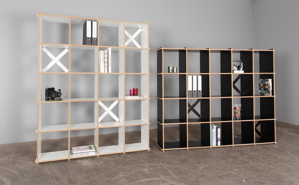 Steckwerk Holzregal Starterset 20 in weiß und schwarz